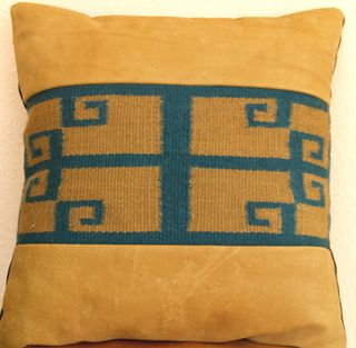 Hopi Inspiration cowhide with green and sage yarns